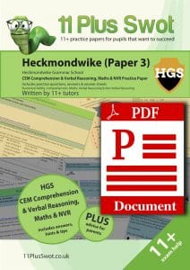 Heckmondwike 11Plus Test Paper 3 Download Front Cover