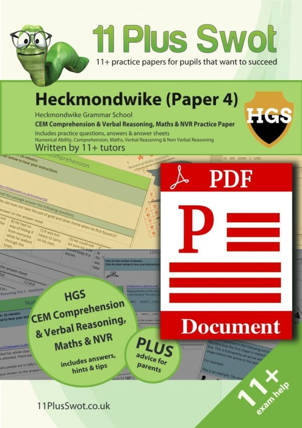 Heckmondwike 11Plus Test Paper 4 Download Front Cover