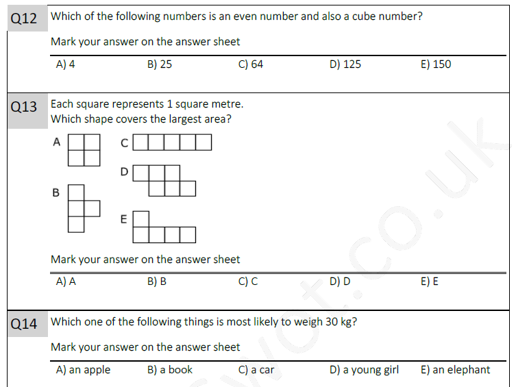 11 plus maths test 1