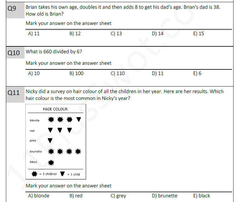 11 plus maths test 2