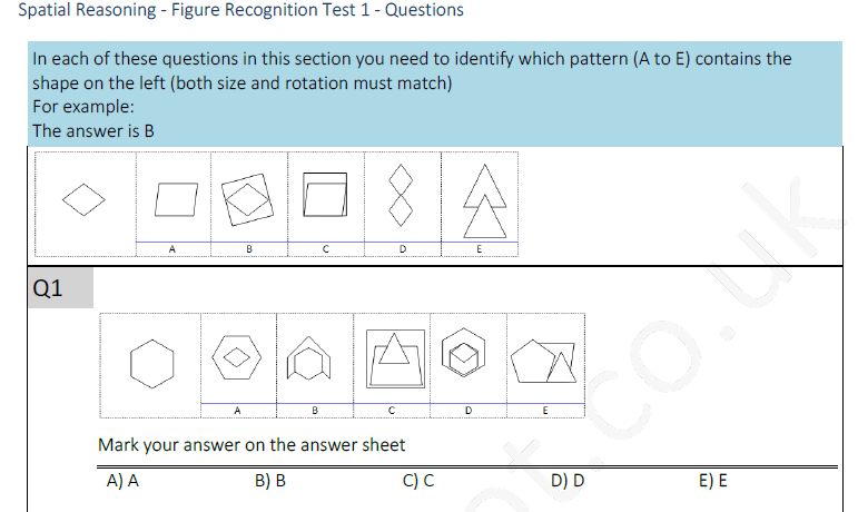 11plus spatial reasoning test 1